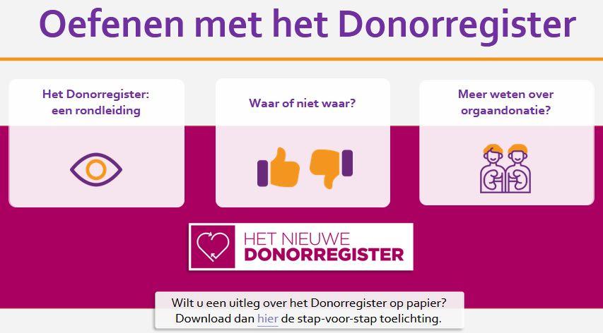 Oefenen met het Donorregister